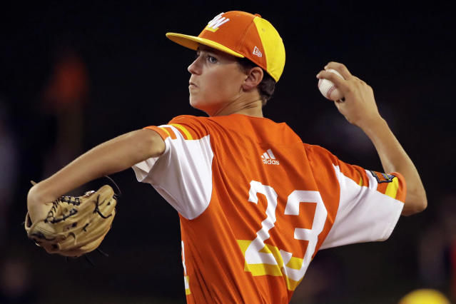 River Ridge, La.'s Marshall Louque delivers during the fifth inning against South Riding, Va., at the Little League World Series baseball tournament in South Williamsport, Pa., Thursday, Aug. 22, 2019. River Ridge, Louisiana won 10-0 in five innings, with Louque pitching a no-hitter. (AP Photo/Gene J. Puskar)