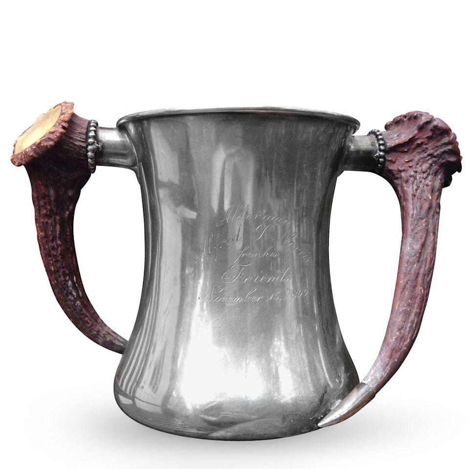 <p>This piece is a loving cup meant for sharing celebratory drinks at a wedding or banquet. The backstamp indicated it was made by Philadelphia silversmith Peter L. Krider for renowned retailer Shreve, Crump & Low. Dated 1899, it sports impressive horn handles that channel an end-of-the-century interest in hunting, says appraiser Helaine Fendelman. </p><p><strong>What it's worth:</strong> $700</p>