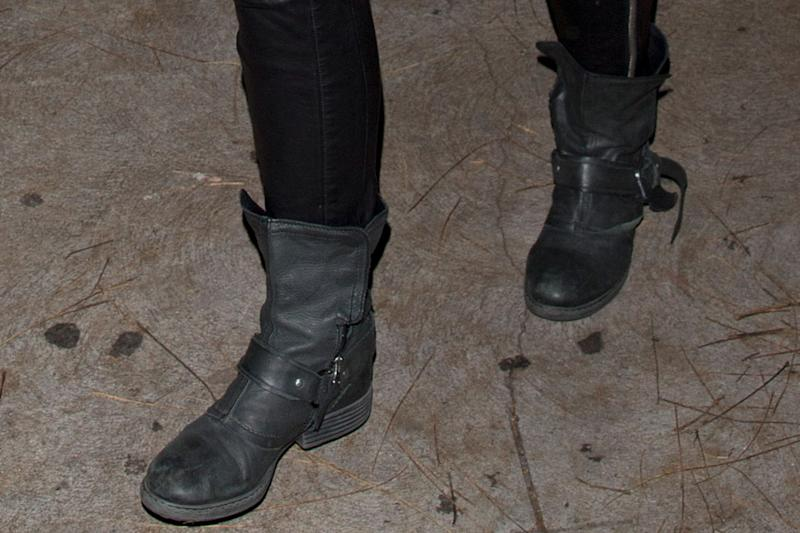Taylor Hill, moto boots, leather leggings, celebrity style