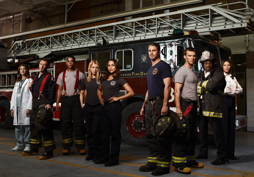 "<b>""Chicago Fire"" (Fall Drama) </b><br><br>No job is more stressful, dangerous or exhilarating than those of the Firefighters, Rescue Squad and Paramedics of Chicago Firehouse 51. These are America's everyday heroes -- the courageous men and women who forge headfirst into danger when everyone else is running the other way. But the enormous responsibilities of the job also take a personal toll. Big reputations and hefty egos, coupled with the pressure to perform and make split-second decisions, are bound to put squad members at odds. When a tragedy claims one of their own, there's plenty of guilt and blame to go around. In the middle of a divorce, Lt. Matthew Casey (Jesse Spencer, ""House M.D."") tries to go about business as usual but can't help butting heads with the brash Lt. Kelly Severide (Taylor Kinney, ""The Vampire Diaries"") of the Rescue Squad – and each blames the other for their fallen team member. When it's ""go-time"" though, they put aside their differences and put everything on the line for each other. ""Chicago Fire"" is a look inside one of America's noblest professions. <br><br>Teri Reeves as Hallie, David Eigenberg as Christopher Hermann, Charlie Barnett as Peter Mills, Lauren German as Leslie Shay, Monica Raymund as Gabriella Dawson, Taylor Kinney as Kelly Severide, Jesse Spencer as Matthew Casey, Eamonn Walker as Battalion Chief Walter Boden and Merle Dandridge as Kay Fitori in ""Chicago Fire."""