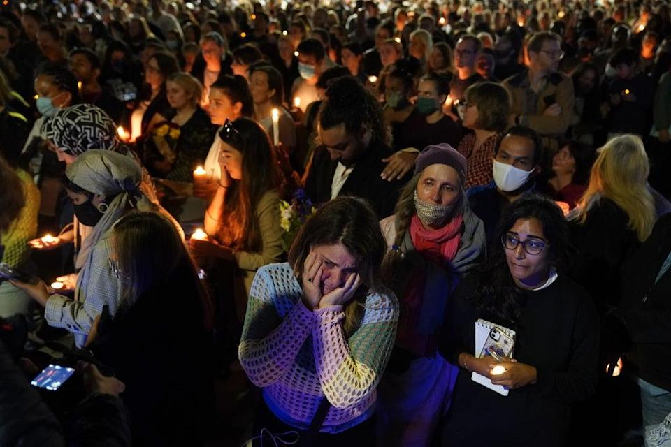 Members of the public attend a vigil in memory of Sabina Nessa (Jonathan Brady/PA) (PA Wire)
