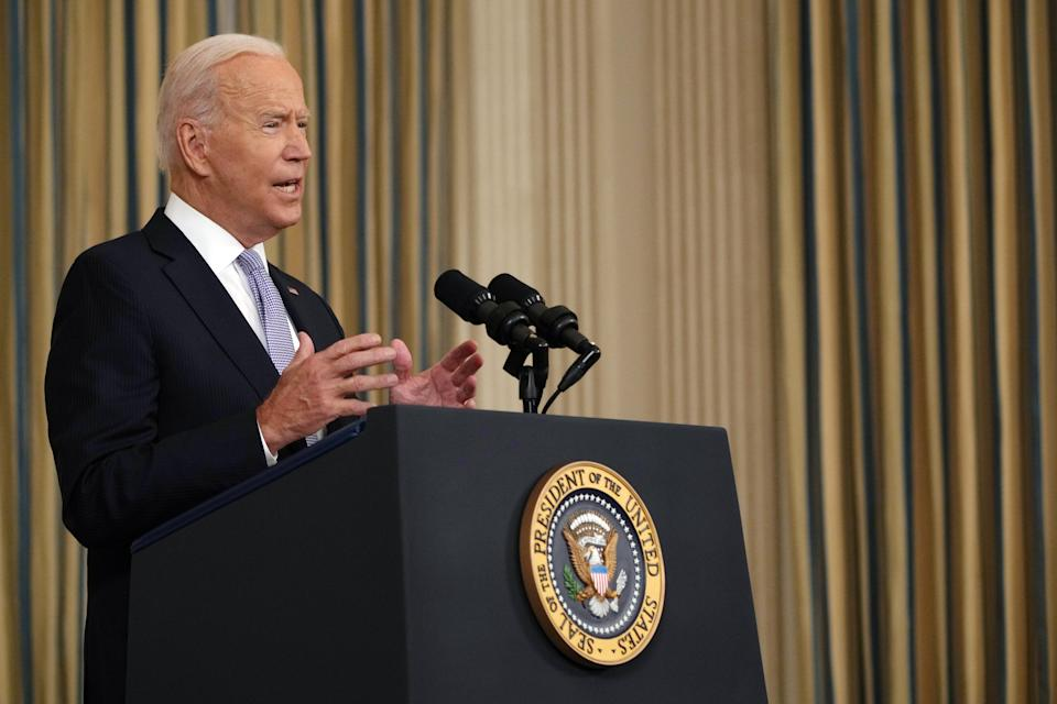 President Joe Biden speaks about the COVID-19 response and vaccinations, at the White House in Washington on Friday, Sept. 24, 2021. (Sarahbeth Maney/The New York Times)