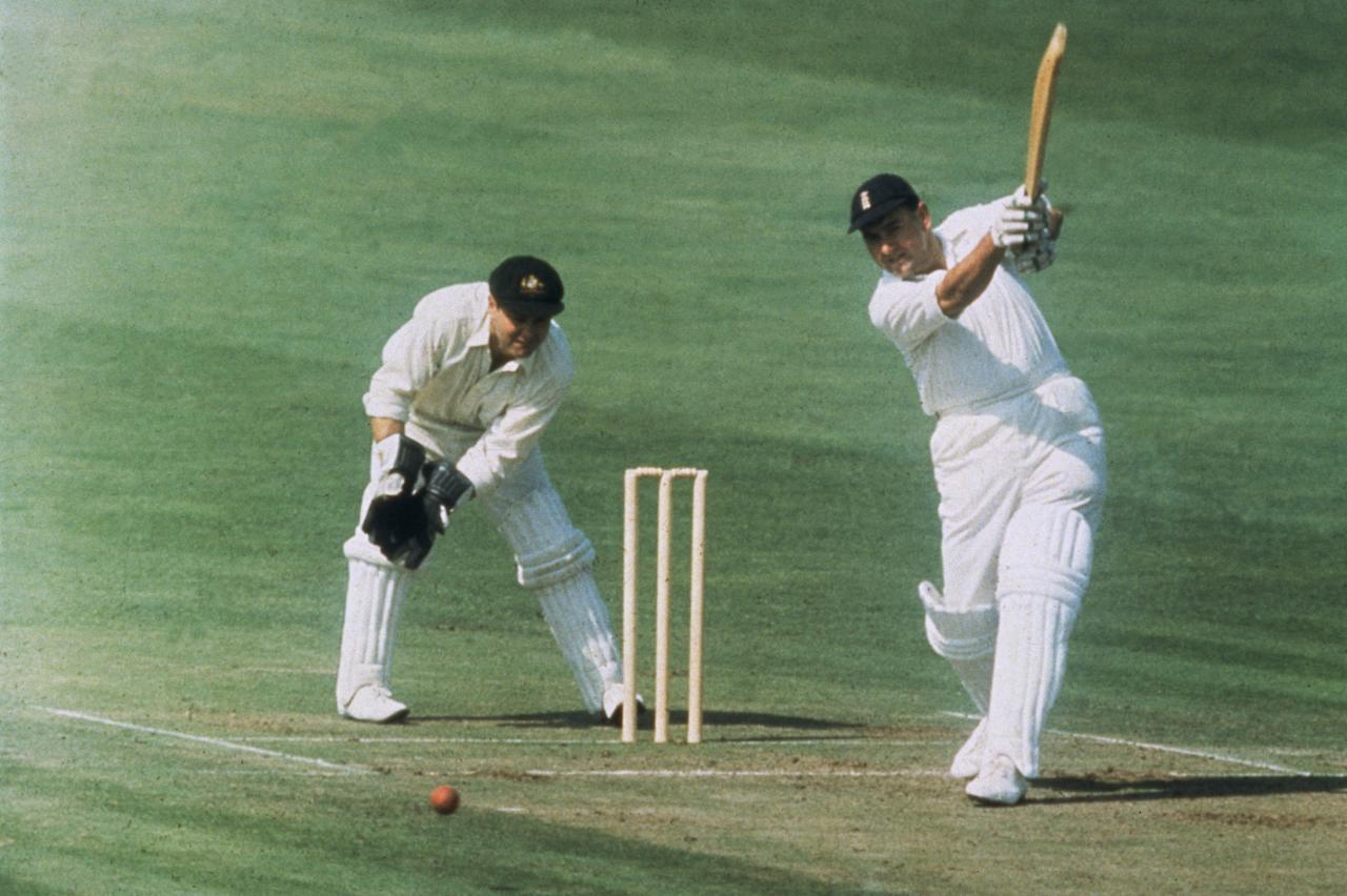 Colin Cowdrey  (1932 - 2000) batting in the 5th Test against Australia at the Oval.    (Photo by Central Press/Getty Images)