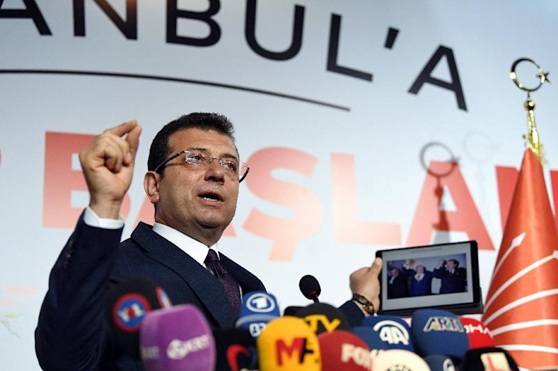 Ekrem Imamoglu, a little-known mayor of one of Istanbul's districts who ran a low-key campaign, has already declared himself Istanbul mayor (AFP Photo/OZAN KOSE)