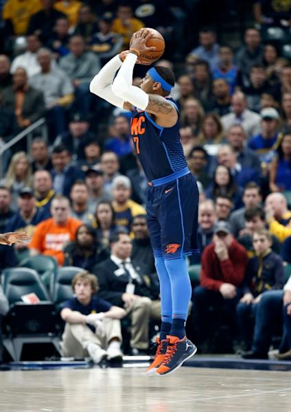 Carmelo Anthony scored 24 points as the Oklahoma City Thunder improved to .500 at 14-14 with their third straight road win and their 17th consecutive victory over the Philadelphia 76ers