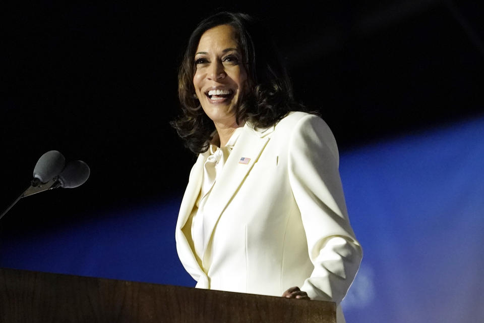 Vice President-elect Kamala Harris speaks Saturday, Nov. 7, 2020, in Wilmington, Del. (AP Photo/Andrew Harnik)