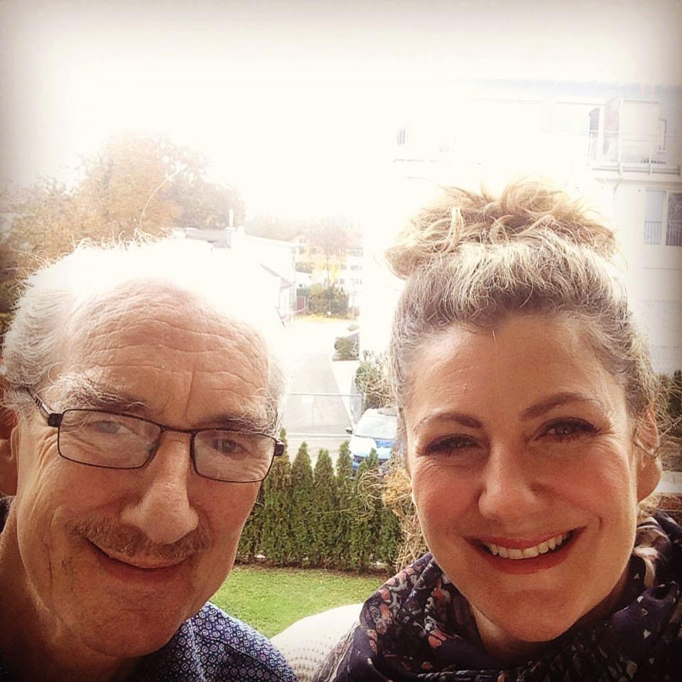 Mel MacIntyre with her father, Ian, while in Germany. (Supplied)