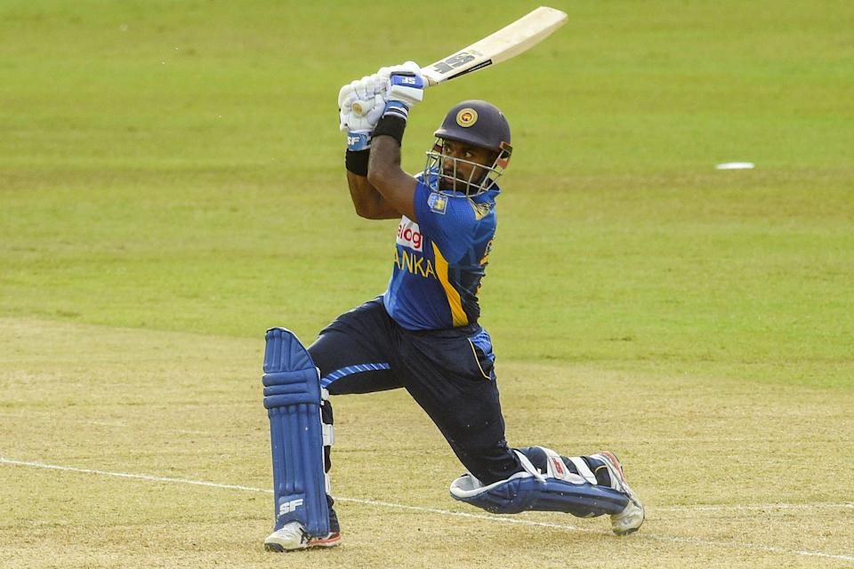 Sri Lanka's Charith Asalanka plays a shot during the second one-day international (ODI) cricket match between Sri Lanka and India at the R.Premadasa Stadium in Colombo on July 20, 2021. (Photo by ISHARA S. KODIKARA / AFP) (Photo by ISHARA S. KODIKARA/AFP via Getty Images)