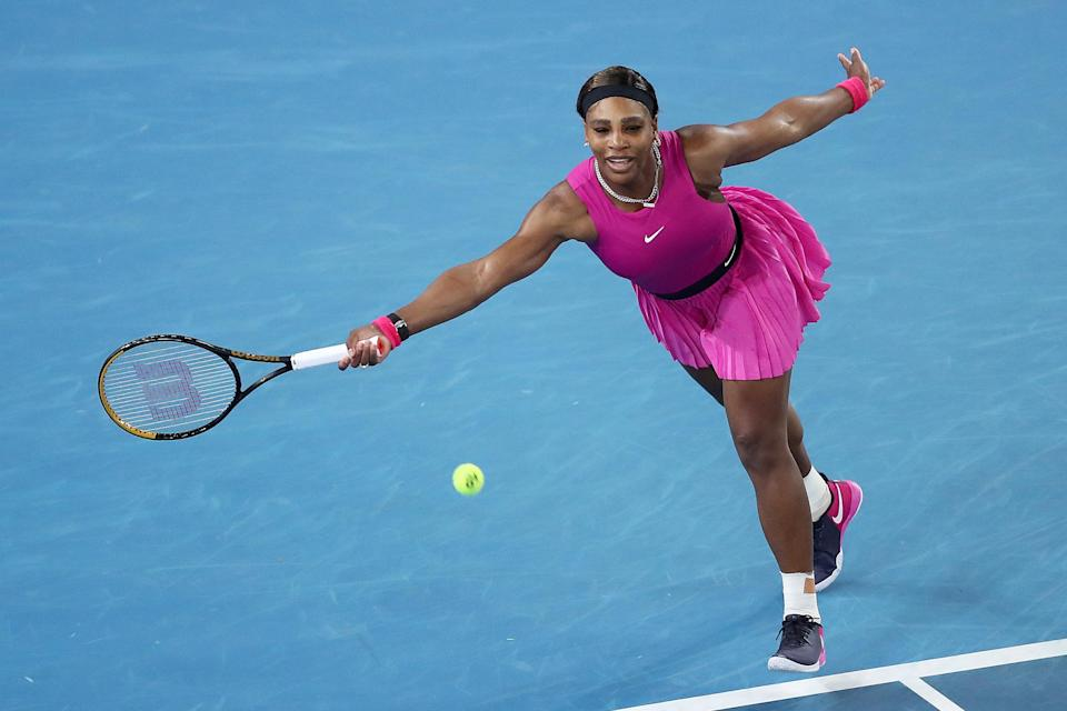 """<p>Serena Williams makes her move on Friday during her women's singles quarterfinals match against Danielle Collins at the WTA 500 Yarra Valley Classic in Melbourne, Australia. She later announced she was <a href=""""https://www.instagram.com/p/CK6E1oun-rT/"""" rel=""""nofollow noopener"""" target=""""_blank"""" data-ylk=""""slk:pulling out of the tournament"""" class=""""link rapid-noclick-resp"""">pulling out of the tournament</a> to rest her shoulder ahead of the Australian Open next week.</p>"""