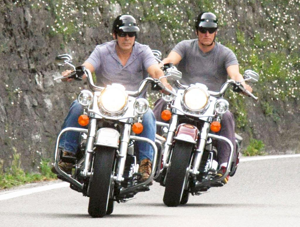 """George Clooney and fellow actor Woody Harrelson cruised the streets of Laglio, Italy. The """"Up in the Air"""" star so loved visiting there that he now has an estate on the picturesque Lake Como. LaPresse/<a href=""""http://www.x17online.com"""" target=""""new"""">X17 Online</a> - July 1, 2010"""