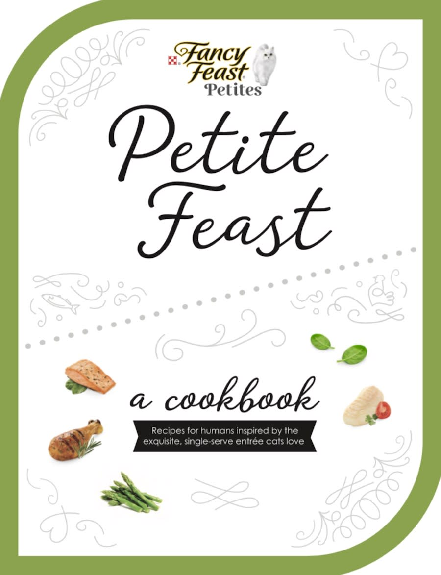 The Fancy Feast cookbook cover in white with green trim