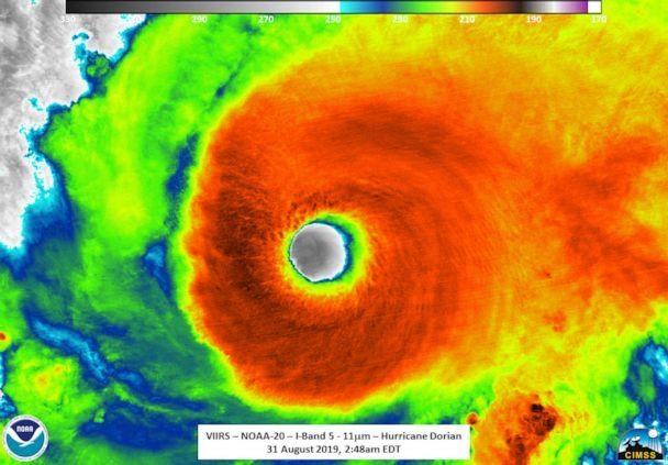 PHOTO: A close-up of the eye of Hurricane Dorian was captured by the NOAA-20 satellite. (NOAA)