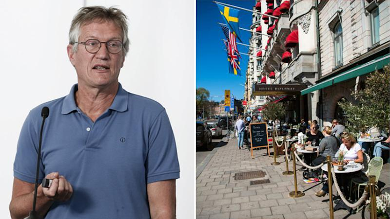 Anders Tegnell (pictured left) is chief epidemiologist for Sweden's Public Health Agency. Pictured right are Swedish restaurants that remained open during the coronavirus pandemic.