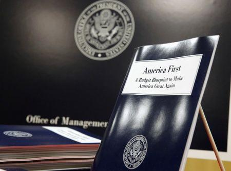 U.S. President Donald Trump's overview of the budget priorities for Fiscal Year 2018 are displayed at the U.S. Government Publishing Office on its release in Washington