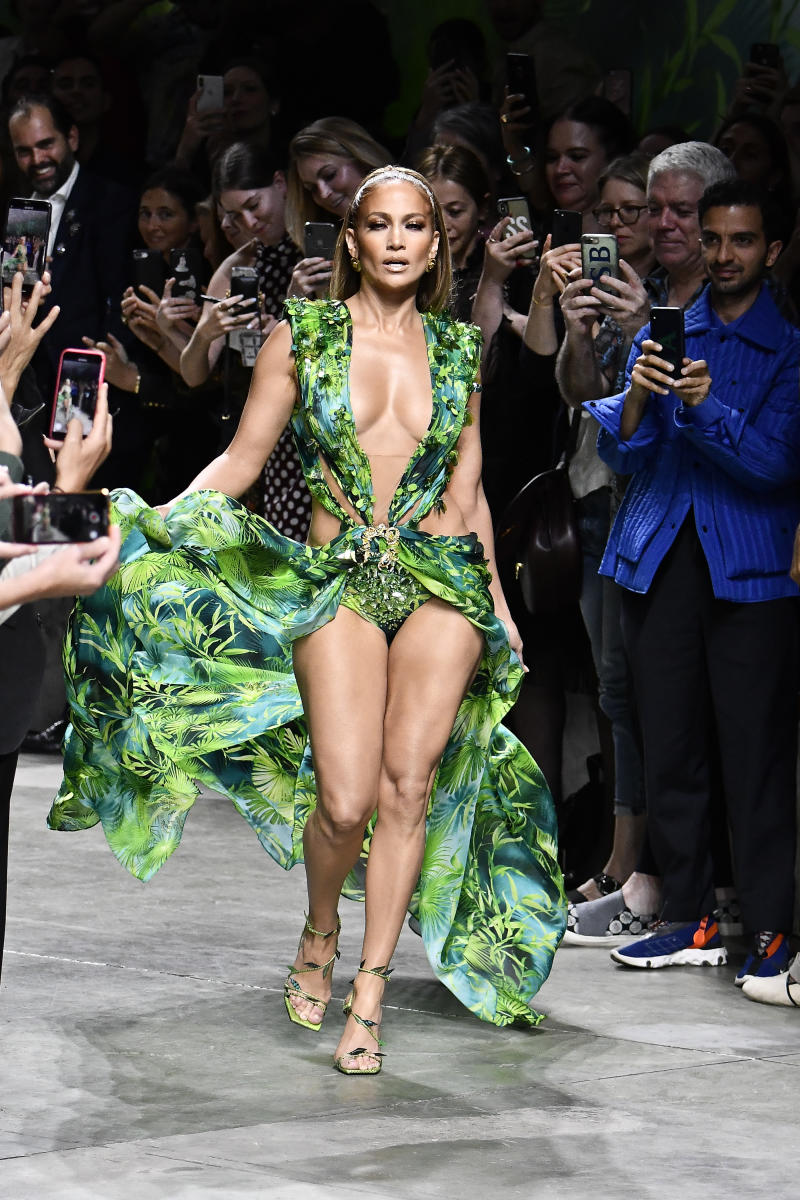 Jennifer Lopez walking on the runway Versace Fashion Show during Milan Fashion Week Womenswear Spring / Summer 2020 held in Milan, Italy on September 20, 2019. (Photo by Jonas Gustavsson/Sipa USA)