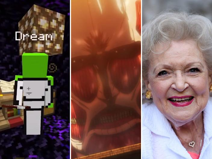 composite of three images: dream, the mincraft player's avatar (a green blocky body with a smiley face drawn on it); a muscle-looking giant monster from Attack on Titan, and betty white