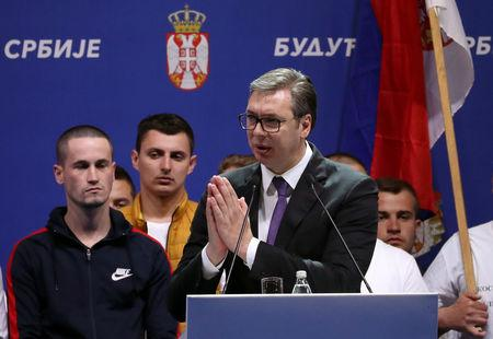 """Serbian President Aleksandar Vucic addresses supporters in front of the Parliament Building during his campaign rally """"The Future of Serbia"""" in Belgrade, Serbia, April 19, 2019. REUTERS/Marko Djurica"""