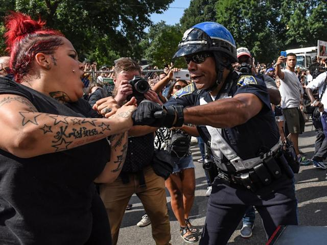 Counter-protesters clash with Boston Police outside of the Boston Commons and the Boston Free Speech Rally in Boston, Massachusetts, U.S., August 19, 2017 (Reuters)
