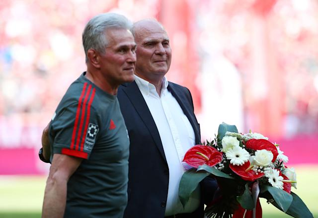 Soccer Football - Bundesliga - Bayern Munich v VfB Stuttgart - Allianz Arena, Munich, Germany - May 12, 2018 Bayern Munich coach Jupp Heynckes and President Uli Hoeness before the match REUTERS/Michael Dalder DFL RULES TO LIMIT THE ONLINE USAGE DURING MATCH TIME TO 15 PICTURES PER GAME. IMAGE SEQUENCES TO SIMULATE VIDEO IS NOT ALLOWED AT ANY TIME. FOR FURTHER QUERIES PLEASE CONTACT DFL DIRECTLY AT + 49 69 650050