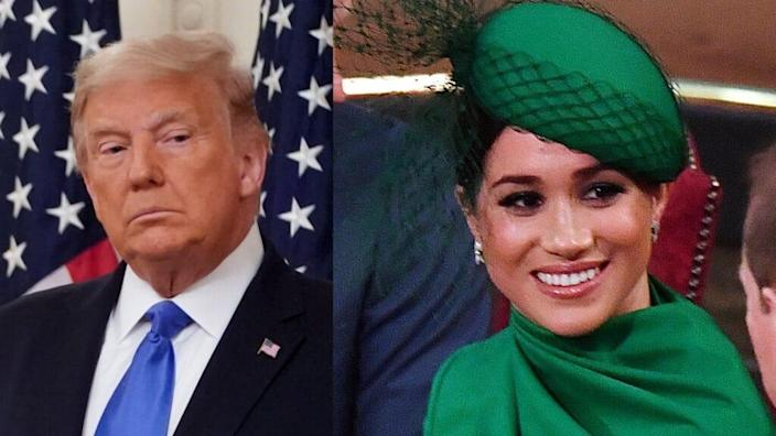 """Last year, President Donald Trump referred to Meghan Markle as """"nasty"""" after she criticized him as """"divisive"""" and """"misogynistic"""" during his 2016 campaign. <br>(Photos by Joshua Roberts/Getty Images and Phil Harris – WPA Pool/Getty Images)<br>"""