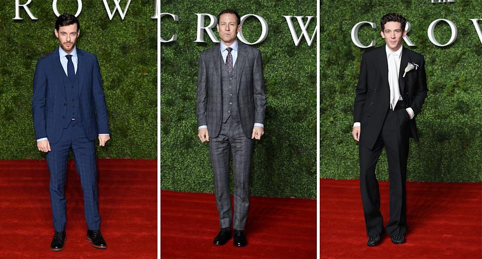 """.Harry Treadaway, Tobias Menzies and Josh O'Connor on the red carpet at """"The Crown"""" Season 3 World Premiere [Photo: Getty]"""