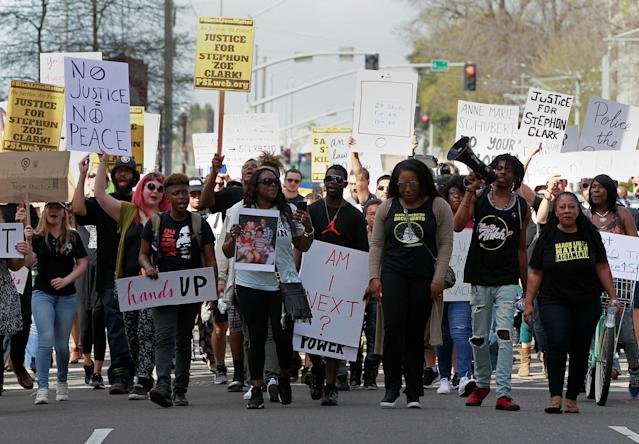 <p>Protesters march downtown after the funeral of police shooting victim Stephon Clark, in Sacramento, Calif., March 29, 2018. (Photo: Bob Strong/Reuters) </p>