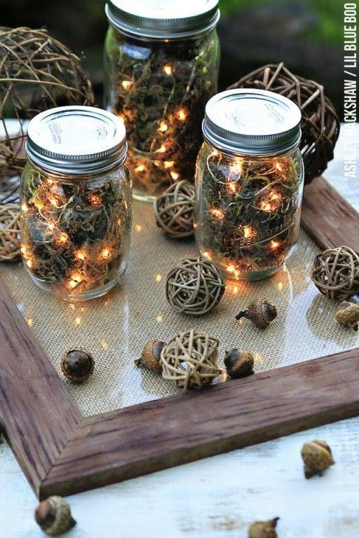 """<p>Remember how much you loved spotting fireflies during the summer as a child? Recreate those memories with LED string lights in mason jars.</p><p><em><a href=""""http://www.lilblueboo.com/2014/09/fall-table-decor-mason-jar-firefly-lanterns.html"""" rel=""""nofollow noopener"""" target=""""_blank"""" data-ylk=""""slk:Get the tutorial at Lil Blue Boo »"""" class=""""link rapid-noclick-resp"""">Get the tutorial at Lil Blue Boo »</a></em></p>"""