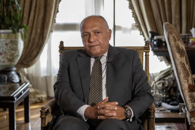 "Egyptian Foreign Minister Sameh Shukry listens during an interview with The Associated Press at his office, in Cairo, Egypt, Sunday, June 21, 2020. Egypt wants the United Nations Security Council to ""undertake its responsibilities"" and prevent Ethiopia from starting to fill its massive, newly built hydroelectric dam on the Nile River next month amid a breakdown in negotiations, Shukry told The Associated Press on Sunday, accusing Ethiopian officials of stoking antagonism between the countries. (AP Photo/Nariman El-Mofty)"