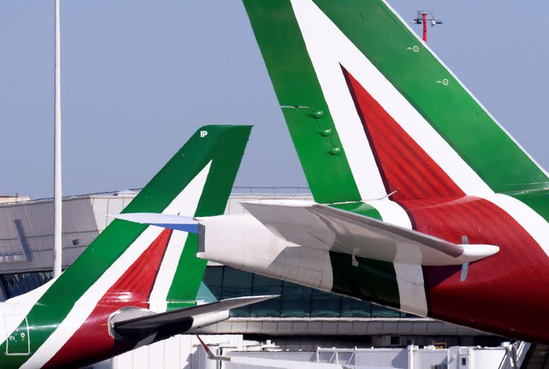 FILE PHOTO: Alitalia planes at Leonardo da Vinci-Fiumicino Airport in Rome