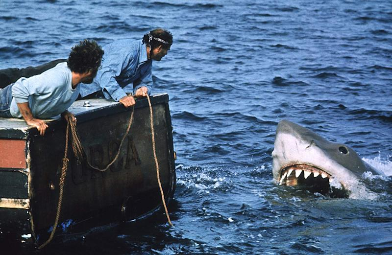 Robert Shaw and Richard Dreyfus shooting Jaws