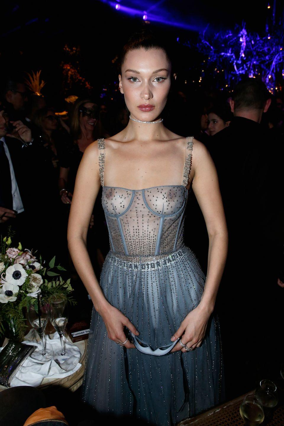 <p>The model wore a sheer dress for the Christian Dior Bal Masque, January 2017</p>