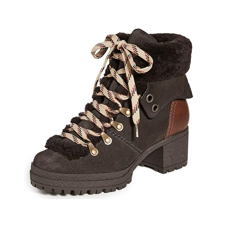 """Another pair of chunky heels? Yes, and here's why: Between the fur-lined ankles, suede finish, and plaid shoelaces, the details are all you need to make an outfit pop. $450, Amazon. <a href=""""https://www.amazon.com/See-Chloe-Womens-Eileen-Grafite/dp/B08KYHM2M6"""" rel=""""nofollow noopener"""" target=""""_blank"""" data-ylk=""""slk:Get it now!"""" class=""""link rapid-noclick-resp"""">Get it now!</a>"""