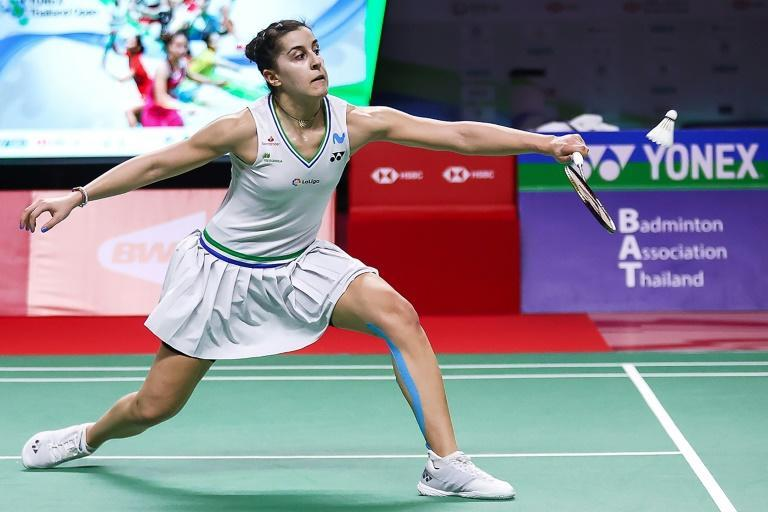 Spain's Carolina Marin on her way to victory against Taiwan's Tai Tzu-ying during their women's singles final match at the Thailand Open badminton tournament