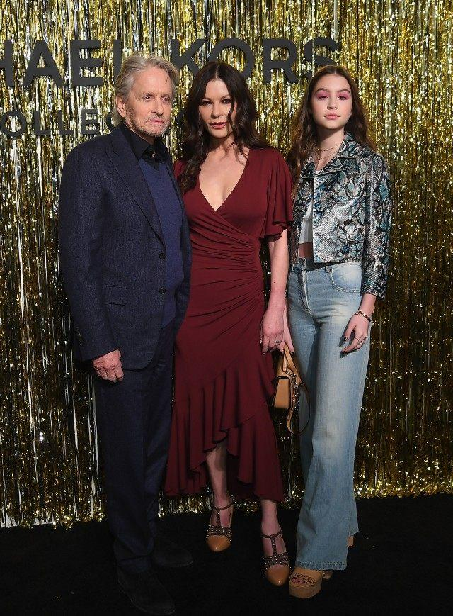 Michael Douglas, Catherine-Zeta Jones and Carys Douglas at Michael Kors show