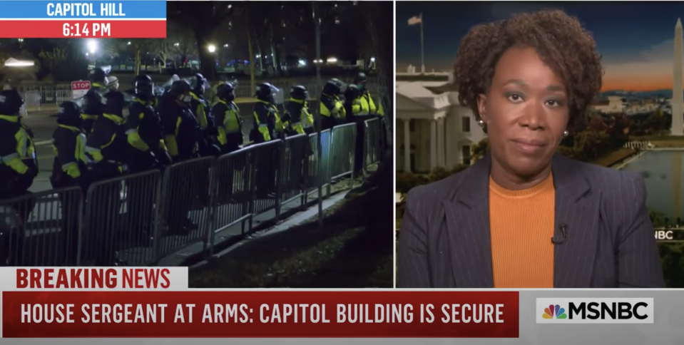 Joy Reid discusses violence at the U.S. Capitol on MSNBC. (Photo: YouTube)
