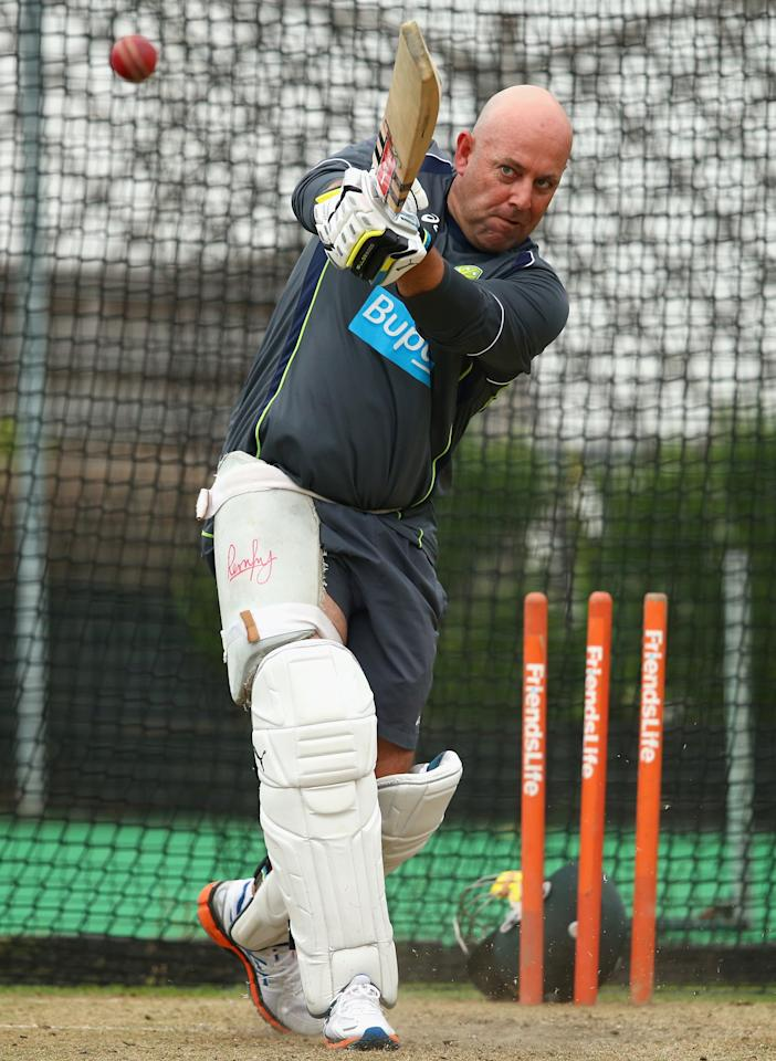 BRIGHTON, ENGLAND - JULY 25:  Darren Lehmann, coach of Australia, bats in the nets during an Australian Training Session at The County Ground on July 25, 2013 in Brighton, England.  (Photo by Ryan Pierse/Getty Images)