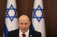 Israeli Prime Minister Naftali Bennett attends a cabinet meeting at the prime minister's office in Jerusalem, Sunday, August 1, 2021. (Abir Sultan/Pool Photo via AP)