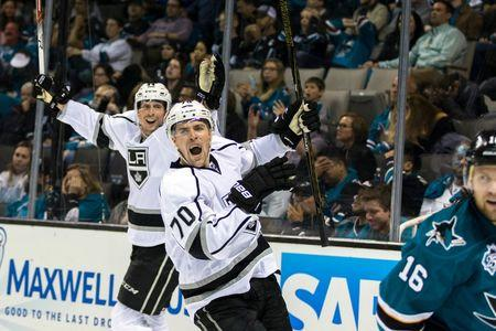 FILE PHOTO: Apr 18, 2016; San Jose, CA, USA;  Los Angeles Kings left wing Tanner Pearson (70) celebrates scoring against the San Jose Sharks in overtime of game three in the first round of the 2016 Stanley Cup Playoffs at SAP Center at San Jose. The Kings won 2-1 in overtime. Mandatory Credit: John Hefti-USA TODAY Sports  / Reuters  Picture Supplied by Action Images   (TAGS: Sport Ice Hockey NHL) *** Local Caption *** 2016-04-19T054601Z_1818003448_NOCID_RTRMADP_3_NHL-STANLEY-CUP-PLAYOFFS-LOS-ANGELES-KINGS-AT-SAN-JOSE-SHARKS.JPG