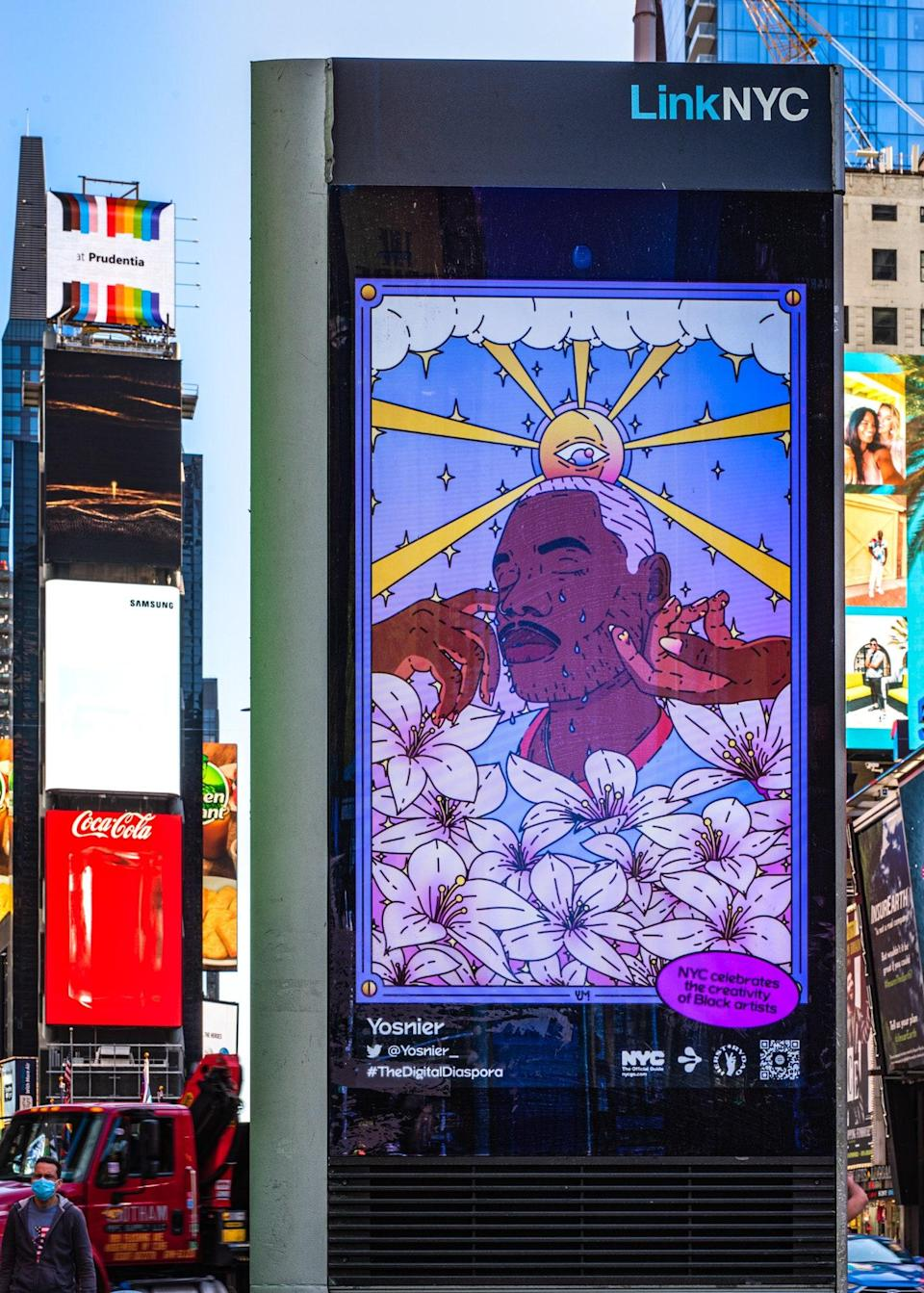 """Yosnier's """"I'll Be Okay Soon"""" displayed on the corner of 45th and Broadway in NYC."""