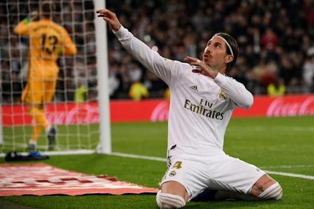 Sergio Ramos celebrated after putting Real ahead from the penalty spot (AFP Photo/PIERRE-PHILIPPE MARCOU)