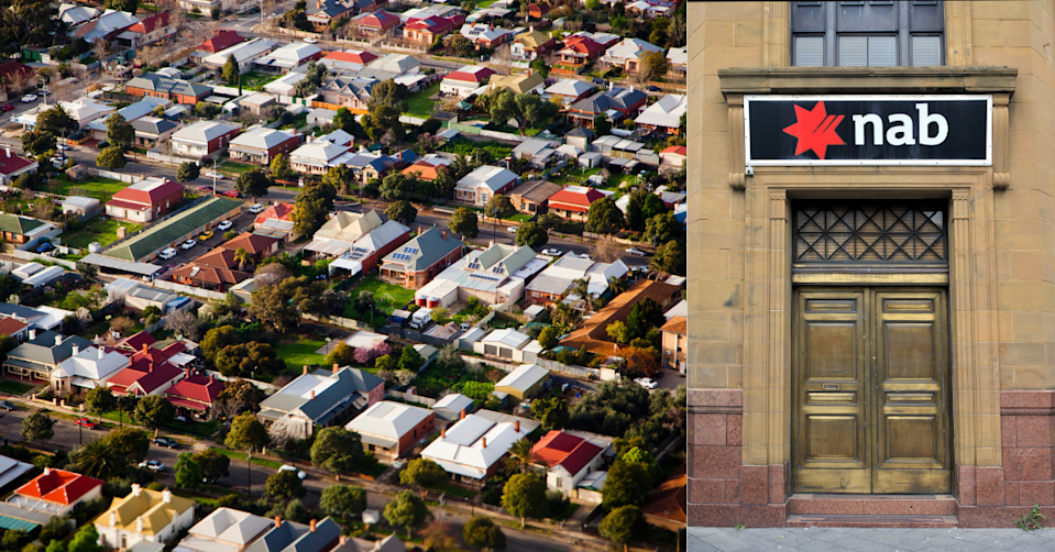 Aerial view of Australian Suburb and NAB logo on bank