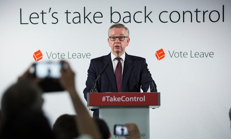Michael Gove Discusses How EU Membership Weakens British Border Control And Threatens Our SecurityLONDON, ENGLAND - JUNE 08: Justice Secretary Michael Gove gives a speech at the 'Vote Leave' campaign headquarters in Westminster on June 8, 2016 in London, England. Mr Gove was today joined by Justice Minister Dominic Raab as they made a case for Britain leaving the European Union on the basis of increased border control and security. Britain will go to the polls in a referendum on the 23rd of June on whether or not to leave the European Union. (Photo by Jack Taylor/Getty Images)