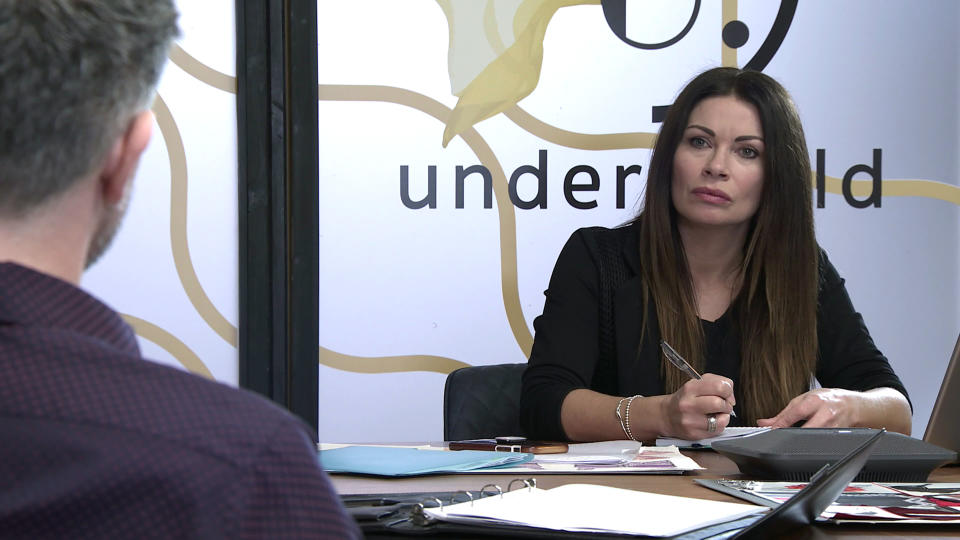 FROM ITV  STRICT EMBARGO - No Use Before Tuesday 16th February 2021  Coronation Street - Ep 10255  Monday 22nd February 2021 - 1st Ep  As Carla Connor [ALISON KING] and Lucas [GLEN WALLACE] go over her sales strategy, neither of them notices Peter Barlow [CHRIS GASCOYNE] approaching with a bunch of flowers. What will he discover?   Picture contact David.crook@itv.com   This photograph is (C) ITV Plc and can only be reproduced for editorial purposes directly in connection with the programme or event mentioned above, or ITV plc. Once made available by ITV plc Picture Desk, this photograph can be reproduced once only up until the transmission [TX] date and no reproduction fee will be charged. Any subsequent usage may incur a fee. This photograph must not be manipulated [excluding basic cropping] in a manner which alters the visual appearance of the person photographed deemed detrimental or inappropriate by ITV plc Picture Desk. This photograph must not be syndicated to any other company, publication or website, or permanently archived, without the express written permission of ITV Picture Desk. Full Terms and conditions are available on  www.itv.com/presscentre/itvpictures/terms