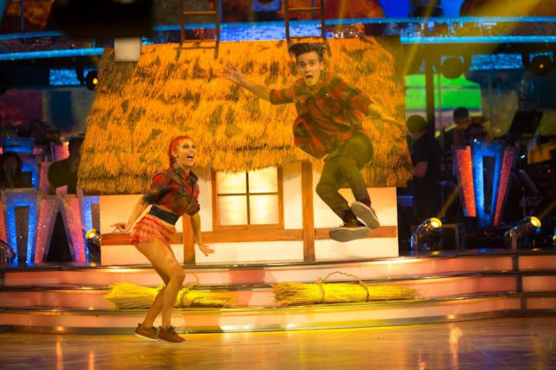 Dancing: Joe Sugg and Dianne Buswell have been getting good marks on Strictly (Guy Levy/BBC)