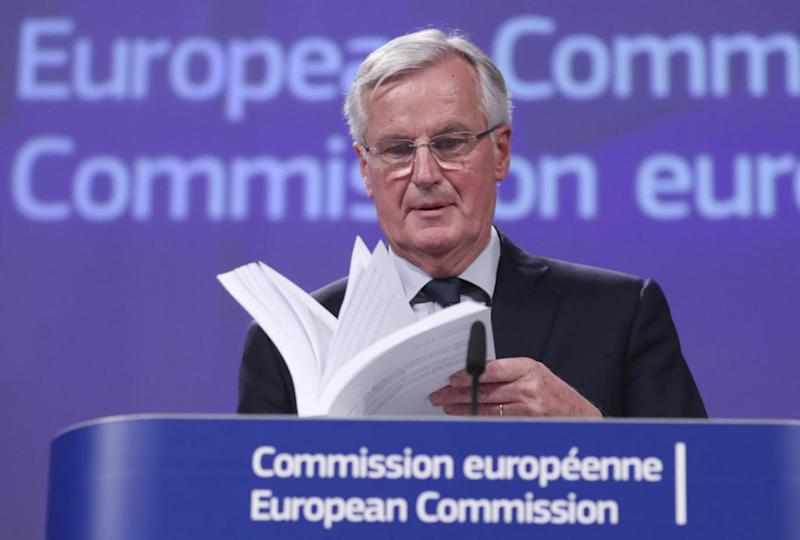 Michel Barnier, the EU's chief Brexit negotiator gave a press briefing today from Brussels after Theresa May's cabinet backed a draft EU-UK agreement. (EPA)