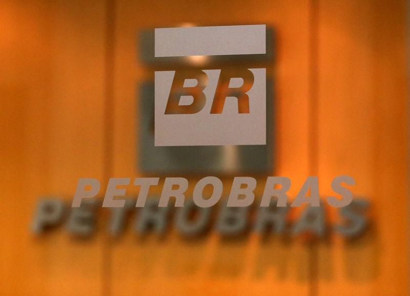The logo of Brazil's state-run oil company Petrobras is pictured in the company headquarters in Sao Paulo