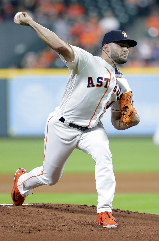 Houston Astros starting pitcher Lance McCullers Jr. (43) throws against the Cleveland Indians during the first inning of a baseball game Sunday, May 20, 2018, in Houston. (AP Photo/Michael Wyke)