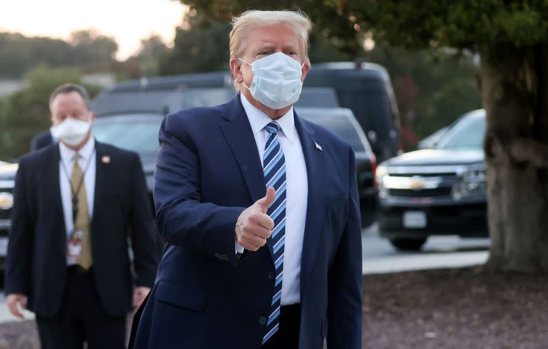 U.S. President Donald Trump departs Walter Reed National Military Medical Center in Bethesda, Maryland