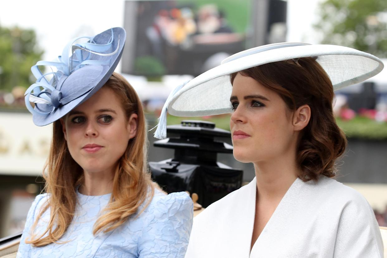 Princess Beatrice and Princess Eugenie attending Royal Ascot on 19 June 2018. (Getty Images)