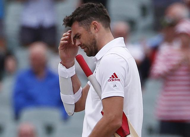 England's James Anderson reacts to losing the second Ashes cricket test against Australia at the Adelaide Oval December 9, 2013. Australia captured England's four remaining wickets before lunch to close out an emphatic 218-run victory in the second Ashes test on Monday. REUTERS/David Gray (AUSTRALIA - Tags: SPORT CRICKET)